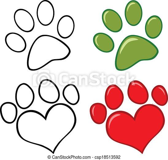 satz, hund, sammlung, pfote - csp18513592