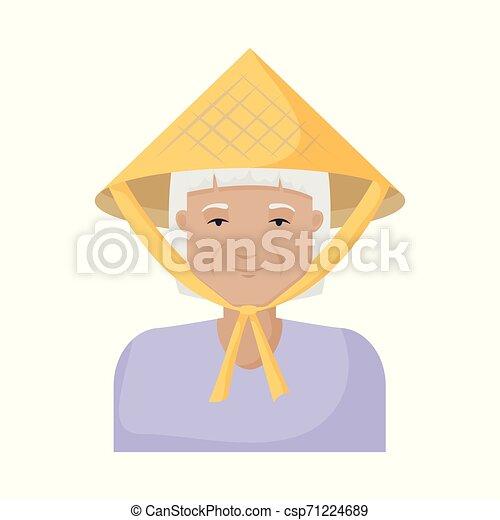 satz, illustration., vietnamesisch, vektor, design, kostüm, m�dchen, icon., bestand - csp71224689