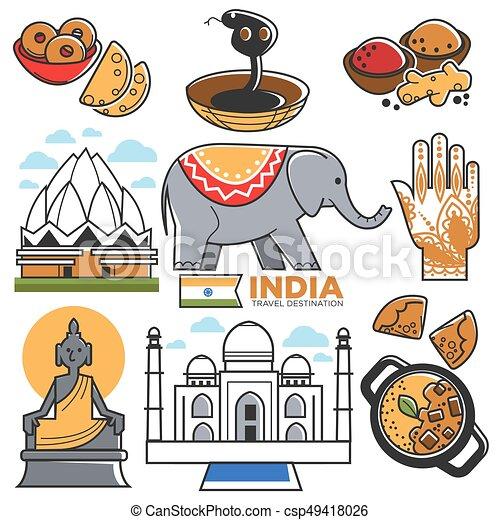 Satz Indische Anziehungskräfte Reise Indien Symbole Kultur