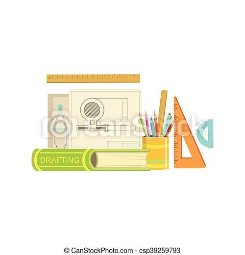 Satz Klasse Gegenstande Zeichnen Wohnung Zusammensetzung Bunte
