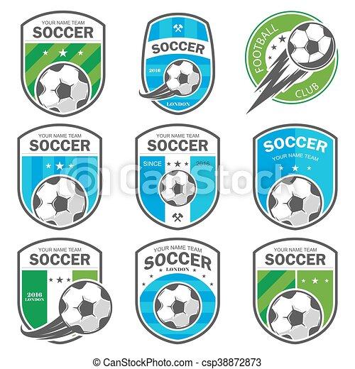 Satz Logos Fussball Vektor Sein Satz Logos Buechse
