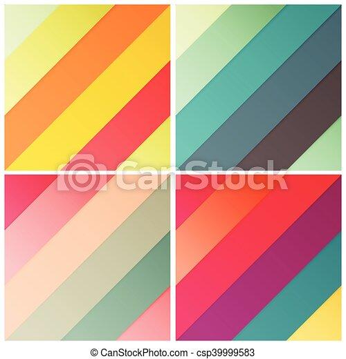 Satz Muster Diagonal Abbildung Vektor Retro Farben Stilvoll