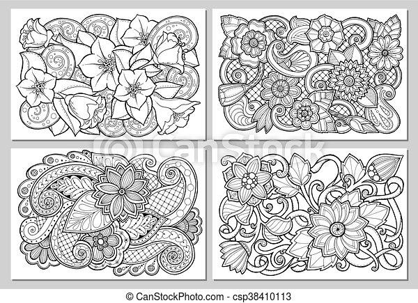 Satz Postcard Abstrakt Einladung Style Design Card Karte Flieger Medien Henna Flowers Gezeichnet Geschaeftswelt Mehendi Web Hand