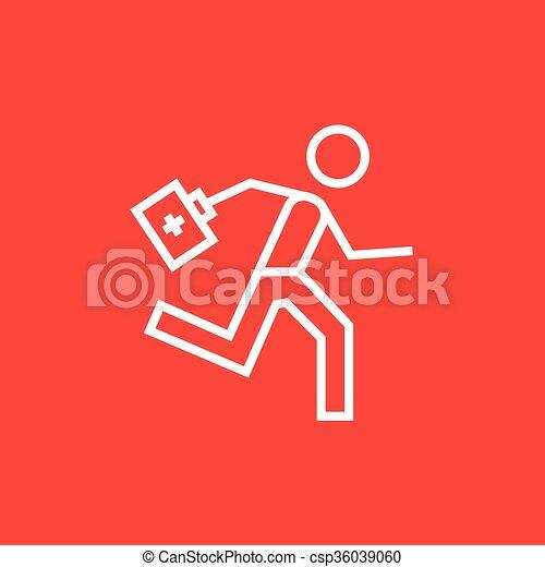 Satz, rennender , sanitäter, hilfe, linie, icon., zuerst ... | {Sanitäter symbol 49}