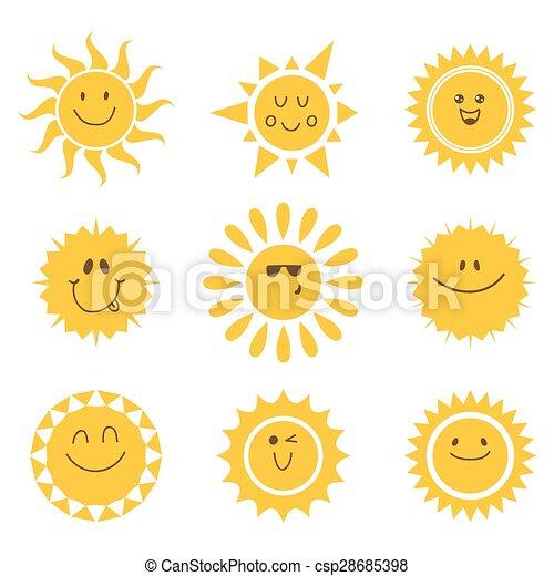 Vector Set von Sonnen-Icons. Sammlung von Sonnen - csp28685398