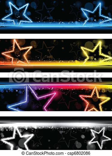 satz, sternen, neon, vier, glühen, hintergrund, banner - csp6802086