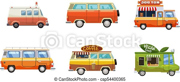 Minivan Icon Set, Cartoon Stil - csp54400365