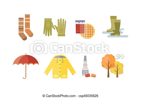 Satz, tee, gelber , herbst, farben, wetter, kalte , parka,... Vektor ...