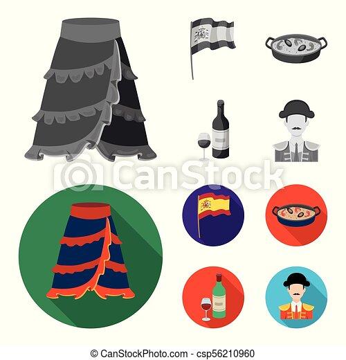satz, tomaten, matador., national, stierkämpfer, tellergericht, stil, heiligenbilder, monochrom, arme, reis, bestand, symbol, web., abbildung, fahne,