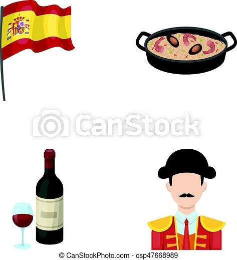 satz, tomaten, matador., national, stierkämpfer, tellergericht, stil, heiligenbilder, arme, reis, bestand, symbol, web., abbildung, fahne, sammlung,