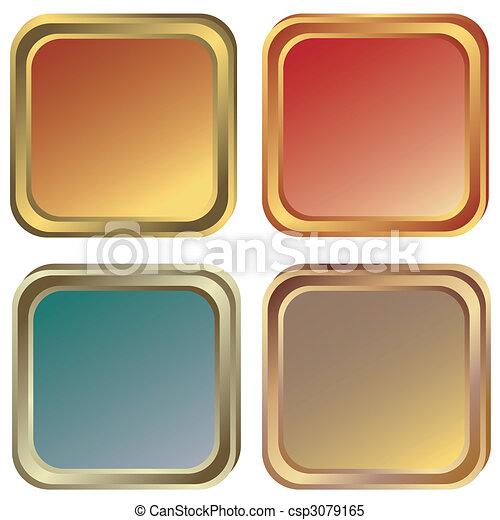 satz, (vector), gold, rahmen, silber, bronze - csp3079165