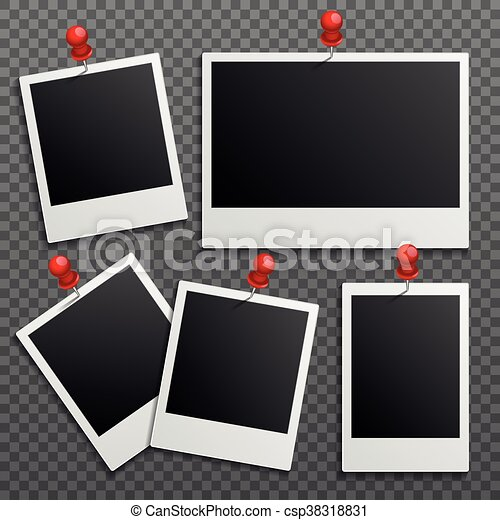 satz wand foto befestigt vektor rahmen polaroid pins vektoren suche clipart. Black Bedroom Furniture Sets. Home Design Ideas