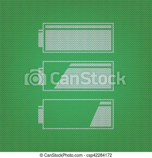 Satz, wasserwaage, batterie, ladung, indicators., grün weiß ...