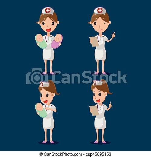 Schwester-Cartoon-Charakter weißer Stoff setzt Vektor - csp45095153