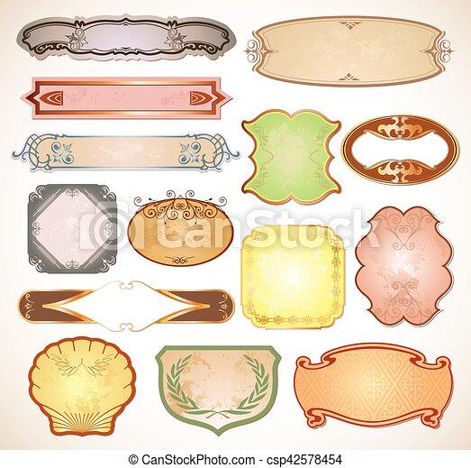 satz, weinlese, etiketten, vektor, dein, design. - csp42578454