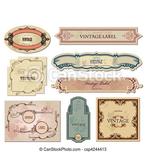 satz, weinlese, etiketten, vektor, dein, design. - csp4244413