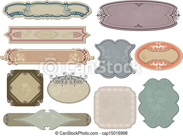 satz, weinlese, etiketten, vektor, dein, design. - csp15016998