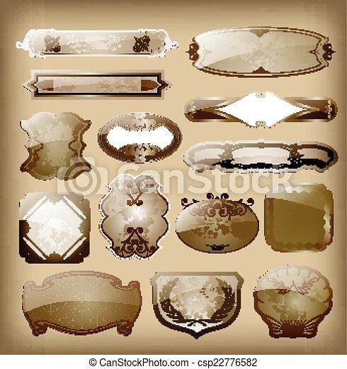 satz, weinlese, etiketten, vektor, design, dein - csp22776582