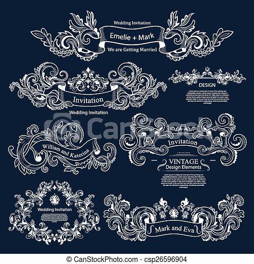 satz, weinlese, viktorianische , wedding, ornaments., design. - csp26596904