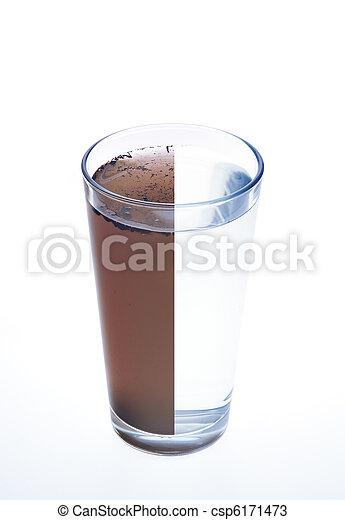 Sauberes und schmutziges Wasser in einem Glas, isoliert auf weißem Hintergrund - csp6171473