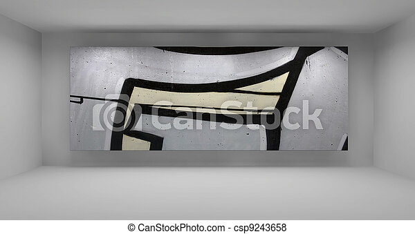 Sauberes Zimmer, Modern, Grau, Abbildung, Farbe, Galerie, Leerer , 3d