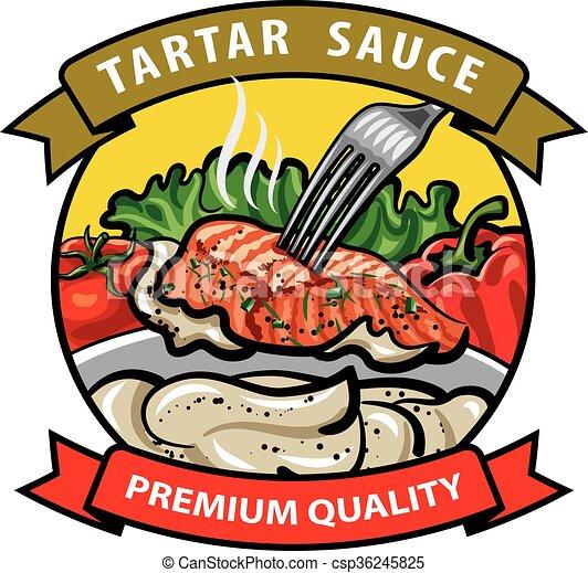 sauce tartar label design - csp36245825