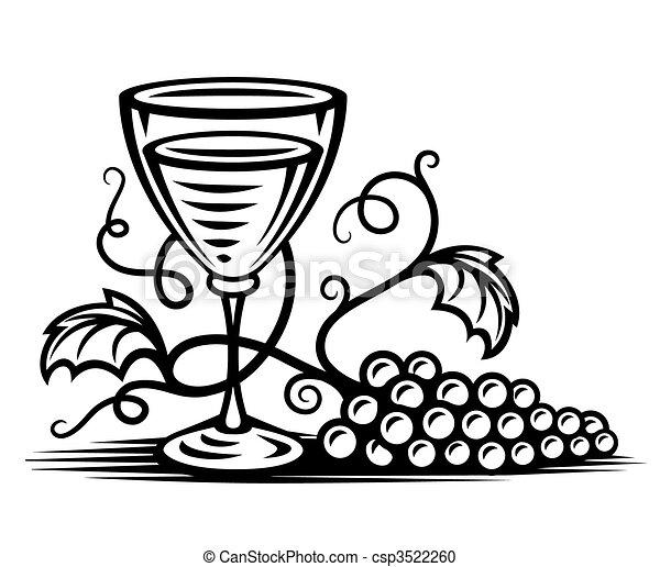 Vidrio negro con vino y sauce - csp3522260