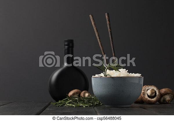 sauceon, ciotola, funghi, nero, tabletop, bottiglia, soia, riso - csp56488045