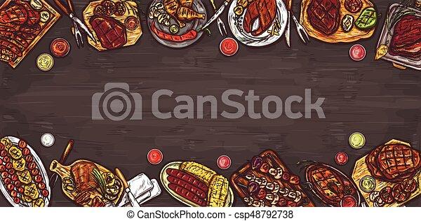 Ilustración de vectores, pancarta culinaria, antecedentes de barbacoa con carne a la parrilla, salchichas, verduras y salsas. - csp48792738
