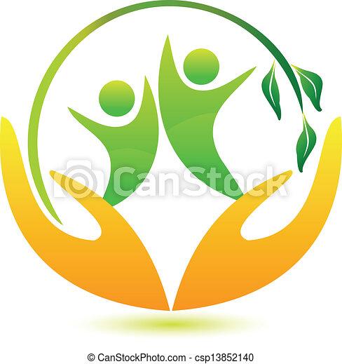 saudável, logotipo, feliz, pessoas - csp13852140