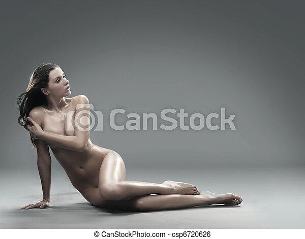 saudável, quadro, mulher, pelado - csp6720626