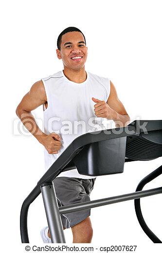 saudável, treadmill, executando, jovem, americano, africano - csp2007627