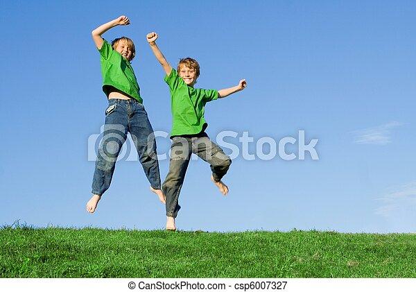 saudável, verão, pular, crianças, feliz - csp6007327