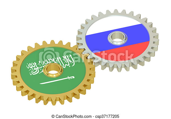 Saudi Arabia and Russia flags on a gears, 3D rendering - csp37177205