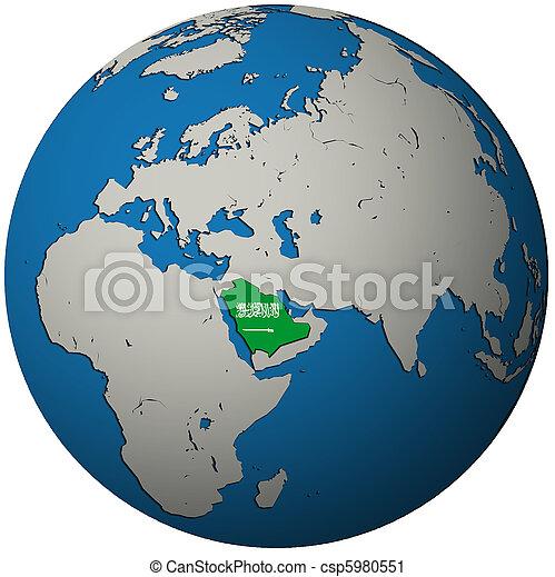 Saudi Arabia Flag On Globe Map Saudi Arabia Territory With Flag