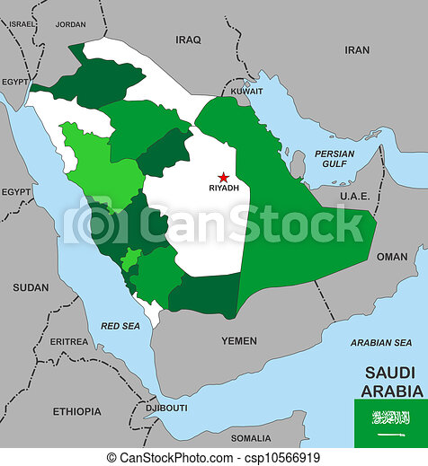 Saudi arabia map. Big size political map of saudi arabia with flag.