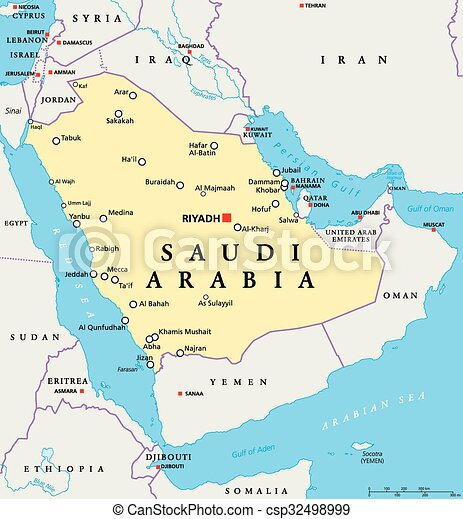 Saudi arabia political map. Saudi arabia political map with capital ...