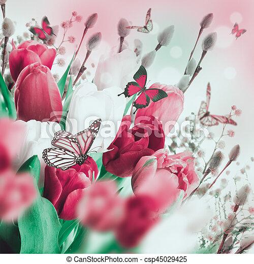 saule, tulipes, butterflies., multi-coloré - csp45029425