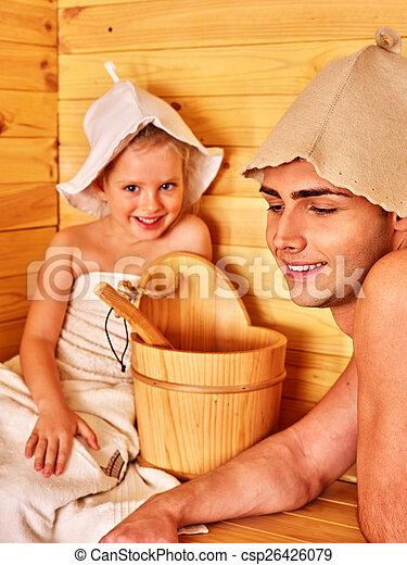sauna., 弛緩, 家族, 子供 - csp26426079