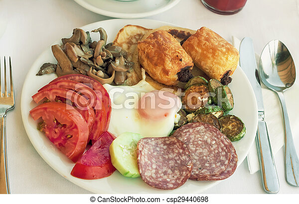 Sausage and scrambled eggs with owoseni on the plate. - csp29440698
