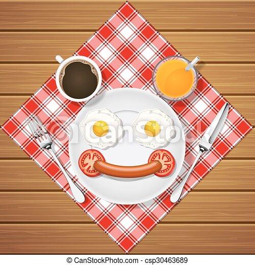 Sausage, eier, bär, getränk, lächeln, gebraten, machen. Holz ...