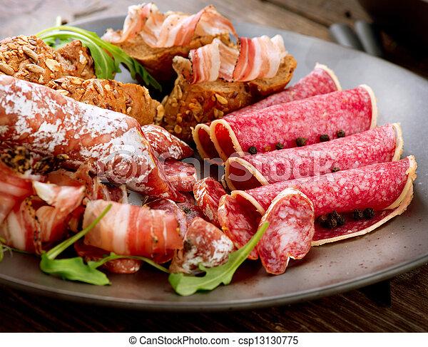 Sausage. Various Italian Ham, Salami and Bacon. Meat Food  - csp13130775