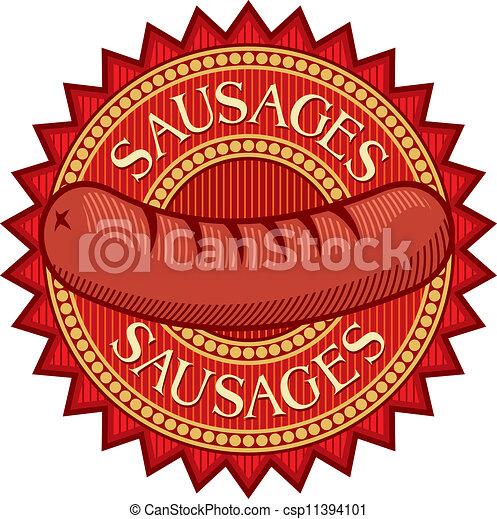 sausages label (sausage sign) - csp11394101