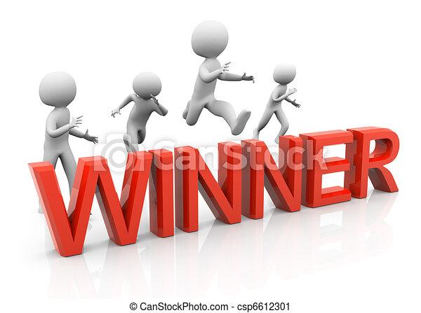 saut, gagnant, 3d, homme - csp6612301