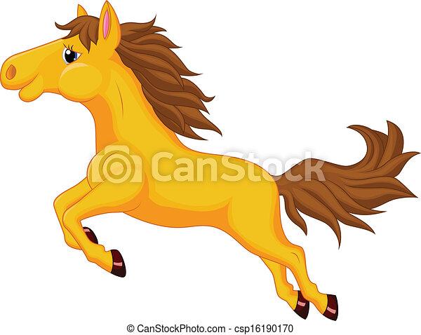 Sauter cheval dessin anim cheval vecteur dessin anim illustration sauter - Cheval dessin couleur ...