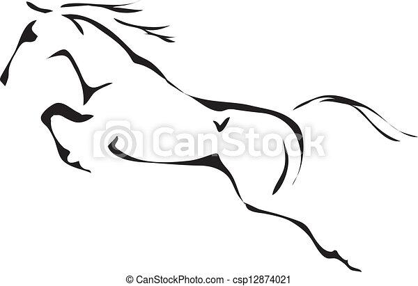 sauter cheval, vecteur, noir, blanc, grands traits - csp12874021