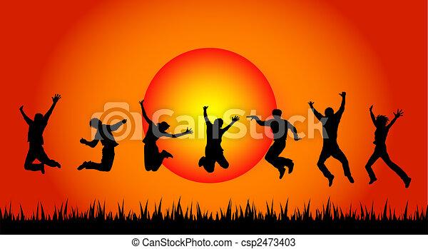 sauter, coucher soleil, gens - csp2473403