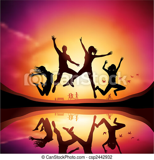 sauter, coucher soleil, gens - csp2442932