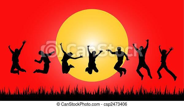 sauter, coucher soleil, gens - csp2473406