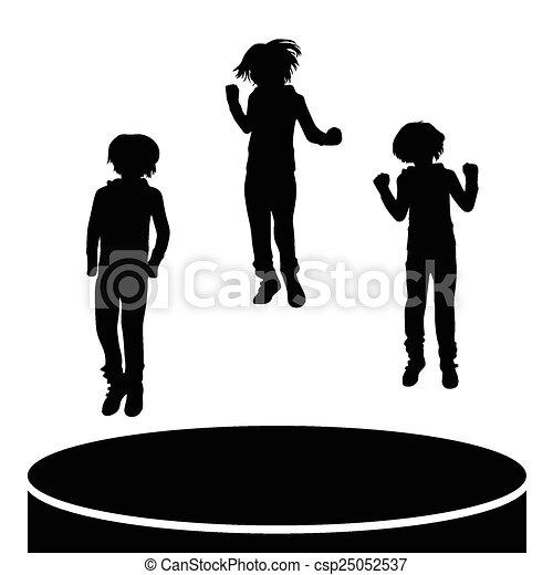 sauter, enfants, vecteur, silhouette - csp25052537